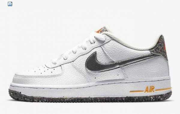 2020 Nike Air Force 1 Crater GS White Silver Orange For Sale